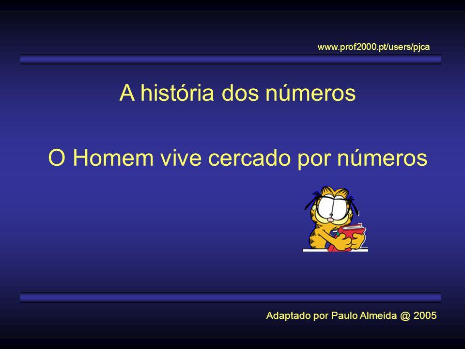 A história dos números O Homem vive cercado por números Adaptado por Paulo Almeida @ 2005 www.prof2000.pt/users/pjca