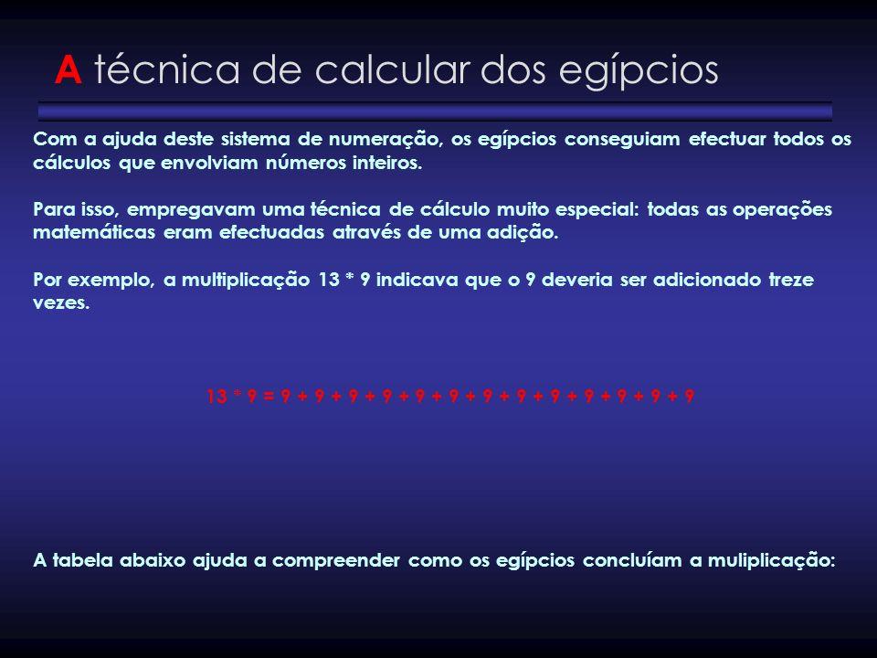 A técnica de calcular dos egípcios Com a ajuda deste sistema de numeração, os egípcios conseguiam efectuar todos os cálculos que envolviam números int
