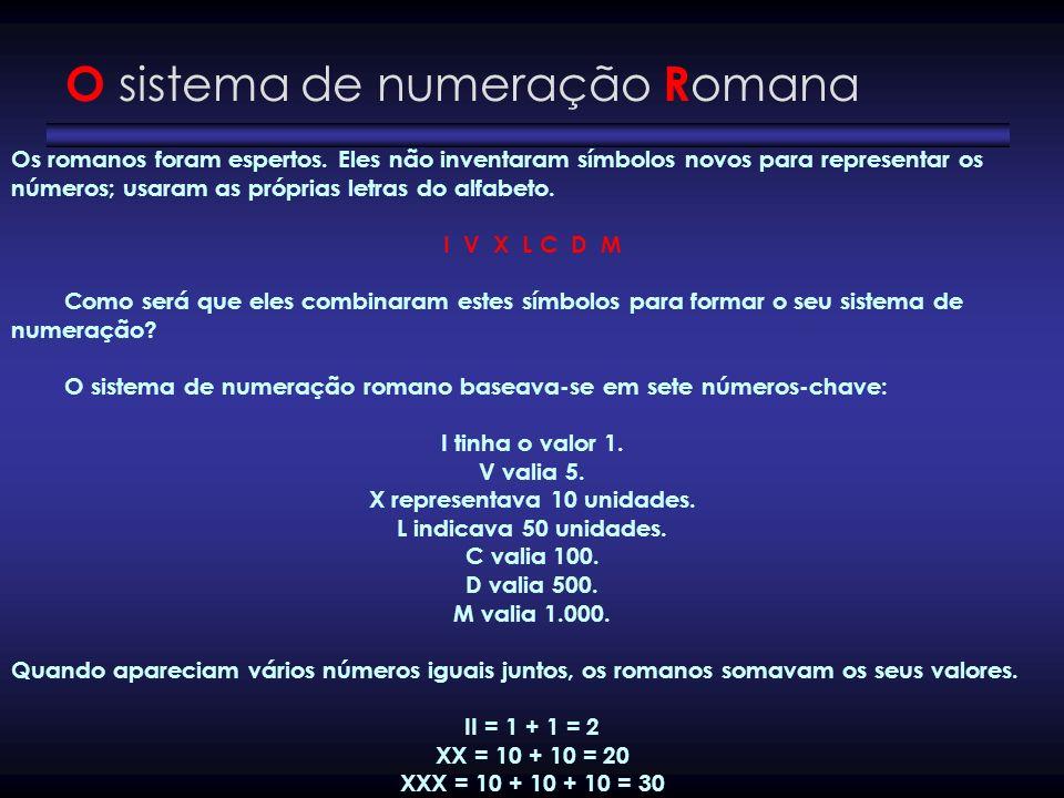 O sistema de numeração R omana Os romanos foram espertos. Eles não inventaram símbolos novos para representar os números; usaram as próprias letras do