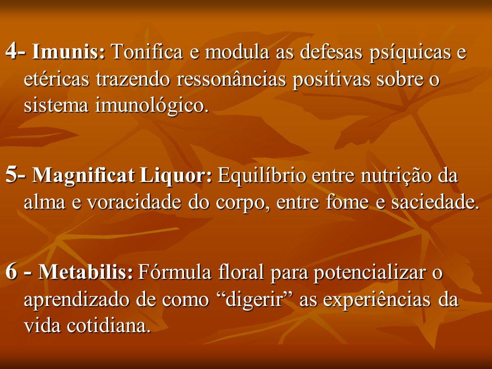 4- Imunis: Tonifica e modula as defesas psíquicas e etéricas trazendo ressonâncias positivas sobre o sistema imunológico. 5- Magnificat Liquor: Equilí