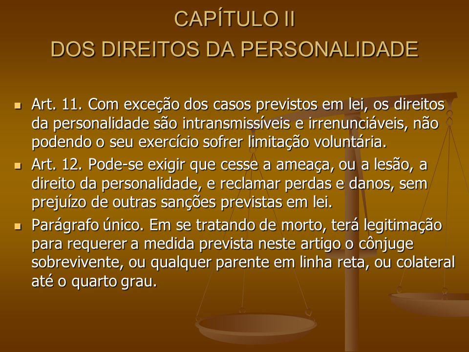 CAPÍTULO II DOS DIREITOS DA PERSONALIDADE Art. 11. Com exceção dos casos previstos em lei, os direitos da personalidade são intransmissíveis e irrenun