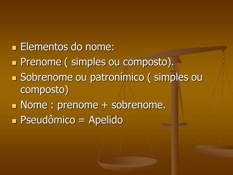 Elementos do nome: Elementos do nome: Prenome ( simples ou composto). Prenome ( simples ou composto). Sobrenome ou patronímico ( simples ou composto)