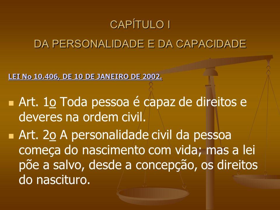 CAPÍTULO I DA PERSONALIDADE E DA CAPACIDADE LEI No 10.406, DE 10 DE JANEIRO DE 2002. LEI No 10.406, DE 10 DE JANEIRO DE 2002. Art. 1o Toda pessoa é ca