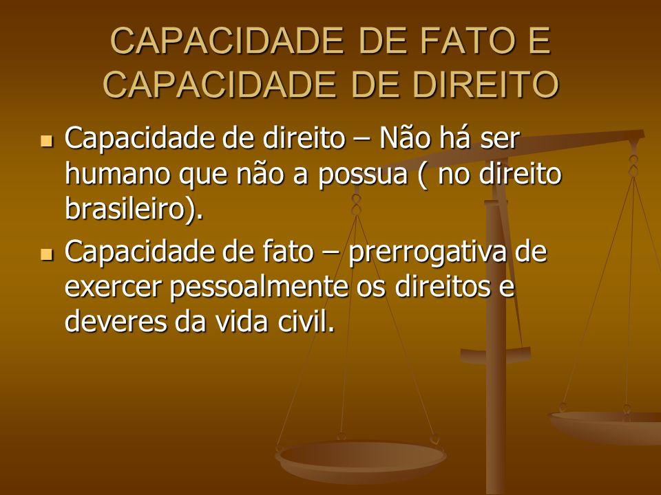 CAPACIDADE DE FATO E CAPACIDADE DE DIREITO Capacidade de direito – Não há ser humano que não a possua ( no direito brasileiro). Capacidade de direito