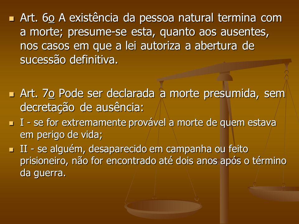 Art. 6o A existência da pessoa natural termina com a morte; presume-se esta, quanto aos ausentes, nos casos em que a lei autoriza a abertura de sucess