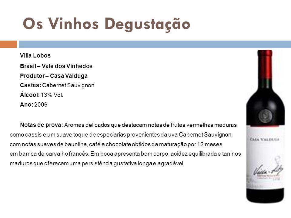Os Vinhos Degustação Villa Lobos Brasil – Vale dos Vinhedos Produtor – Casa Valduga Castas: Cabernet Sauvignon Álcool: 13% Vol. Ano: 2006 Notas de pro