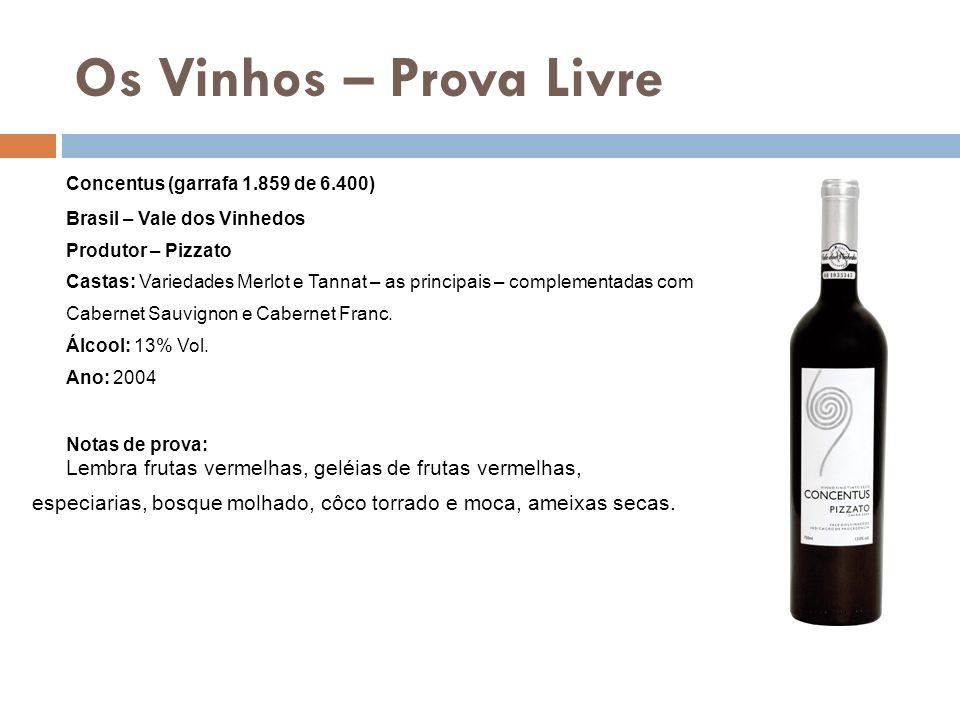 Os Vinhos – Prova Livre Concentus (garrafa 1.859 de 6.400) Brasil – Vale dos Vinhedos Produtor – Pizzato Castas: Variedades Merlot e Tannat – as princ