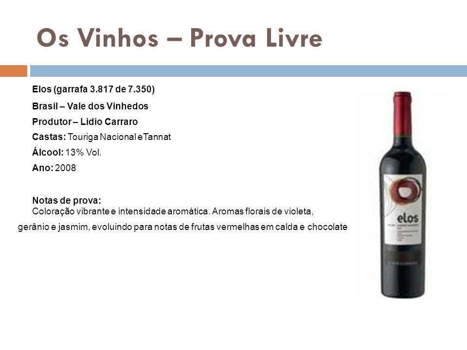 Os Vinhos – Prova Livre Elos (garrafa 3.817 de 7.350) Brasil – Vale dos Vinhedos Produtor – Lidio Carraro Castas: Touriga Nacional eTannat Álcool: 13%