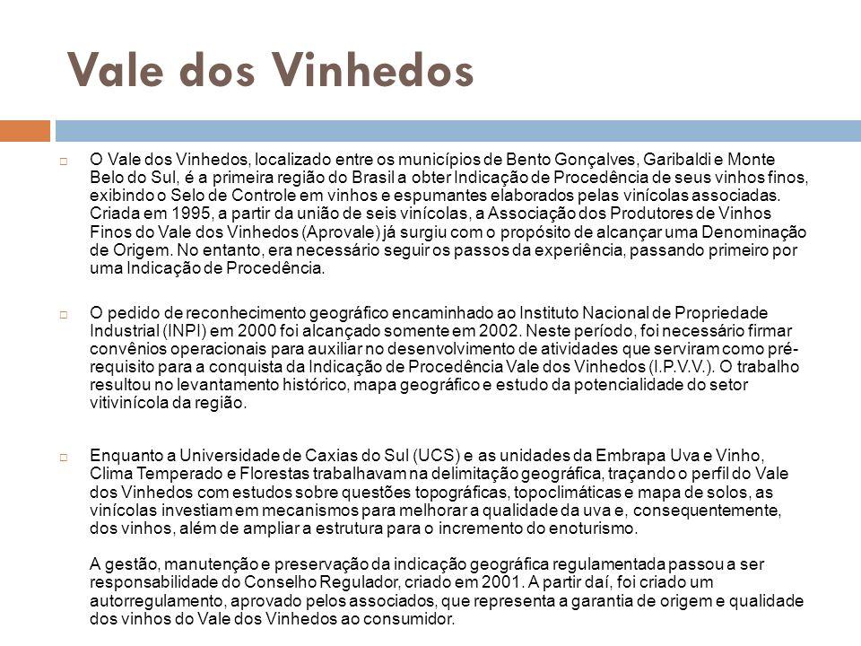 Vale dos Vinhedos O Vale dos Vinhedos, localizado entre os municípios de Bento Gonçalves, Garibaldi e Monte Belo do Sul, é a primeira região do Brasil