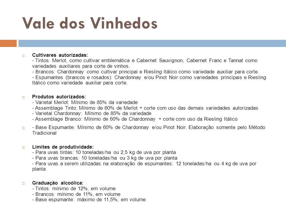 Vale dos Vinhedos Cultivares autorizadas: - Tintos: Merlot, como cultivar emblemática e Cabernet Sauvignon, Cabernet Franc e Tannat como variedades au