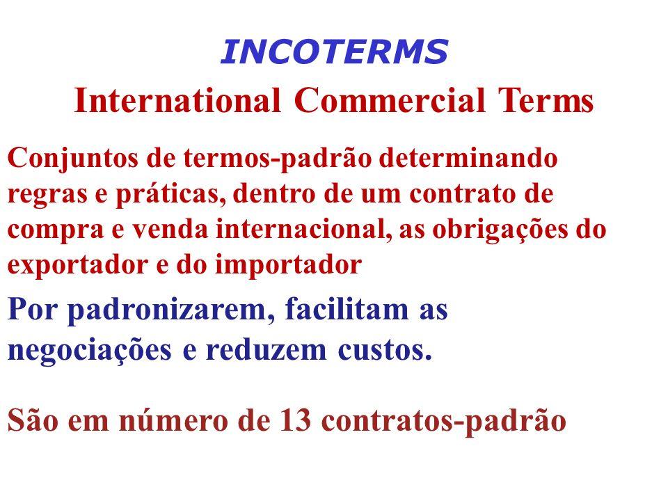 INCOTERMS International Commercial Terms Conjuntos de termos-padrão determinando regras e práticas, dentro de um contrato de compra e venda internacio