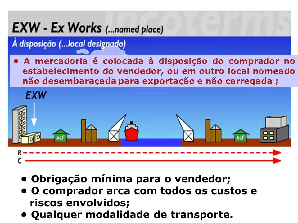 EXW A mercadoria é colocada à disposição do comprador no estabelecimento do vendedor, ou em outro local nomeado não desembaraçada para exportação e nã