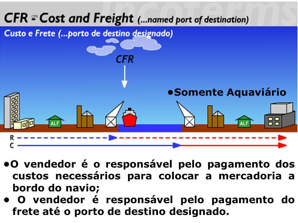 CIF O vendedor é o responsável pelo pagamento dos custos e do frete necessários para levar a mercadoria até o porto de destino indicado; O vendedor deverá contratar e pagar o prêmio de seguro do transporte principal.