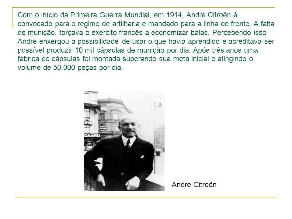 Com o início da Primeira Guerra Mundial, em 1914, André Citroën é convocado para o regime de artilharia e mandado para a linha de frente. A falta de m