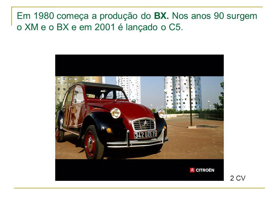 Em 1980 começa a produção do BX. Nos anos 90 surgem o XM e o BX e em 2001 é lançado o C5. 2 CV