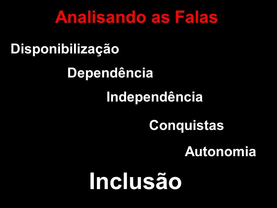 Analisando as Falas Disponibilização Independência Conquistas Autonomia Dependência Inclusão
