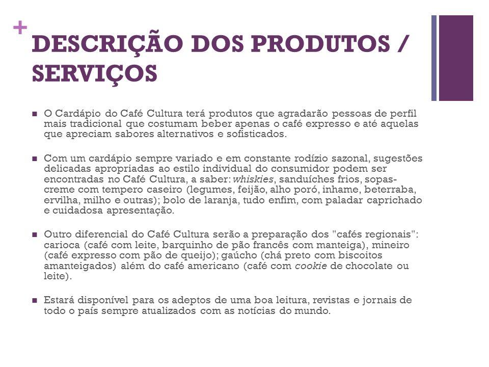 + DESCRIÇÃO DOS PRODUTOS / SERVIÇOS O Cardápio do Café Cultura terá produtos que agradarão pessoas de perfil mais tradicional que costumam beber apena