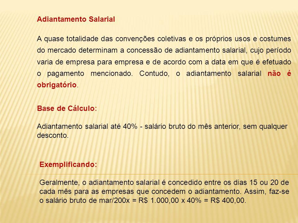Adiantamento Salarial A quase totalidade das convenções coletivas e os próprios usos e costumes do mercado determinam a concessão de adiantamento sala