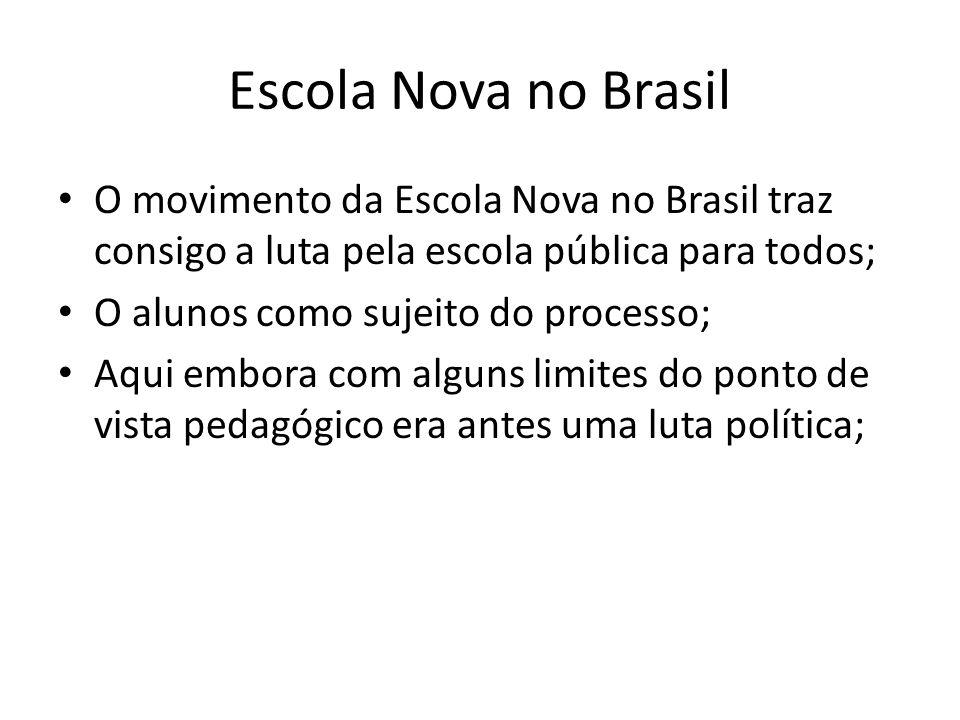 Escola Nova no Brasil O movimento da Escola Nova no Brasil traz consigo a luta pela escola pública para todos; O alunos como sujeito do processo; Aqui