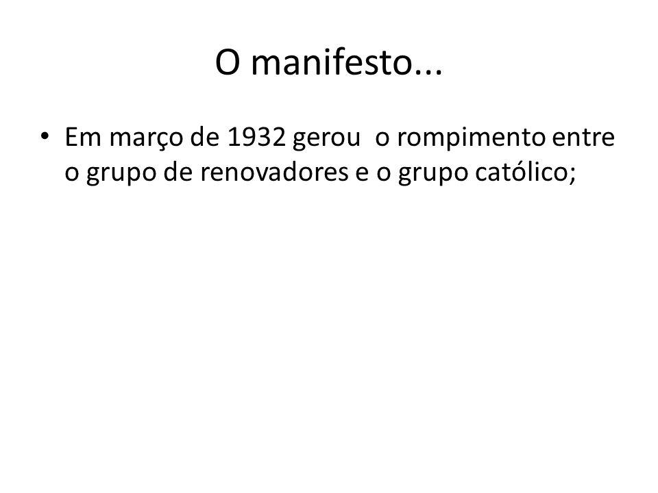 O manifesto... Em março de 1932 gerou o rompimento entre o grupo de renovadores e o grupo católico;
