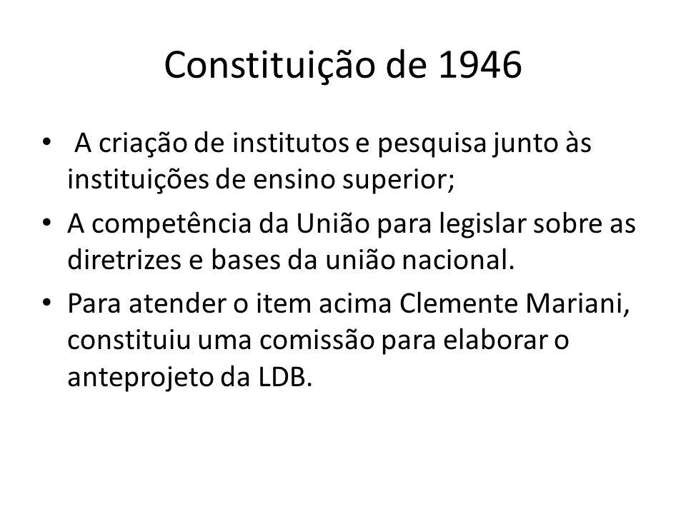 Constituição de 1946 A criação de institutos e pesquisa junto às instituições de ensino superior; A competência da União para legislar sobre as diretr