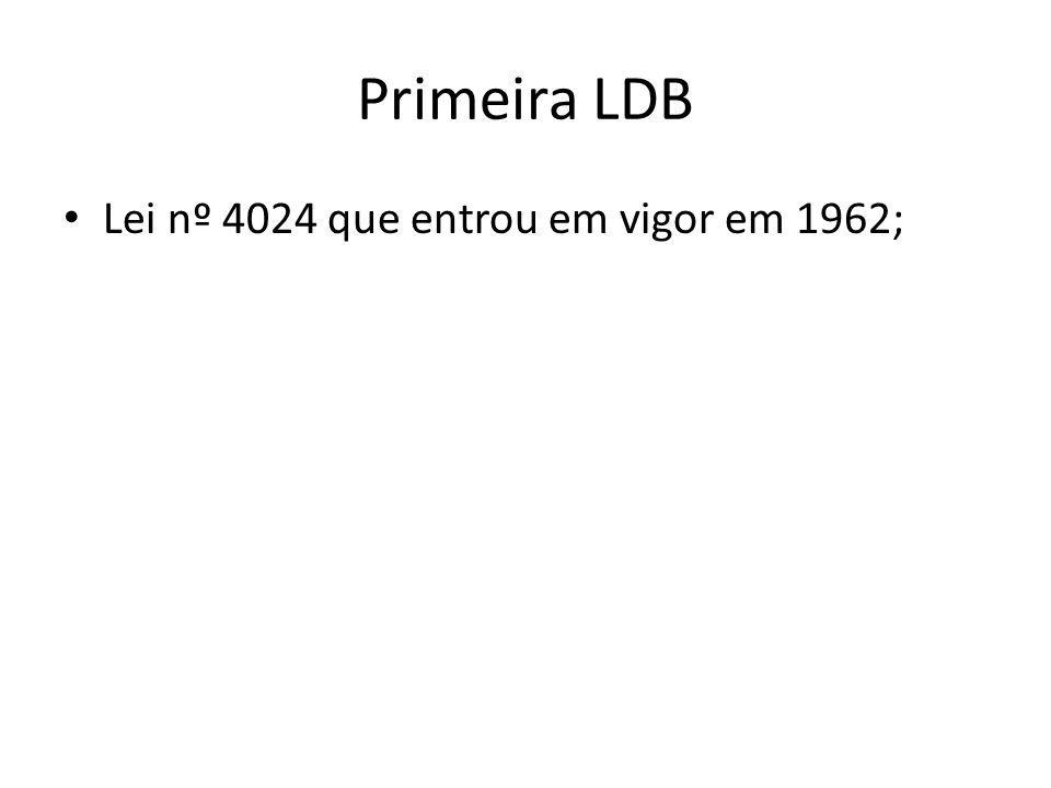 Primeira LDB Lei nº 4024 que entrou em vigor em 1962;