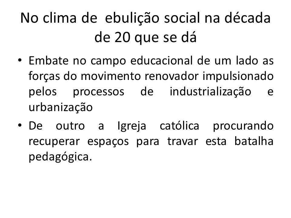 Governo empossado em 1930 tomas as primeiras medidas: Cria o Ministério da Educação e Saúde pública; Quem ocupa a pasta é Francisco Campos(integrante do movimento da Escola Nova).