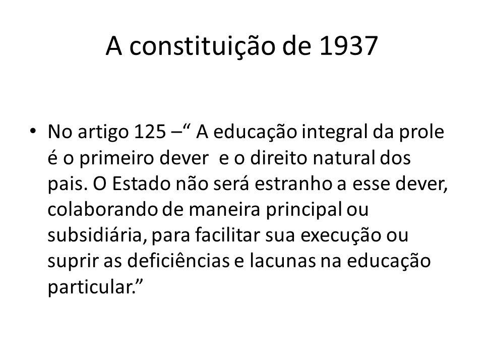 A constituição de 1937 No artigo 125 – A educação integral da prole é o primeiro dever e o direito natural dos pais. O Estado não será estranho a esse