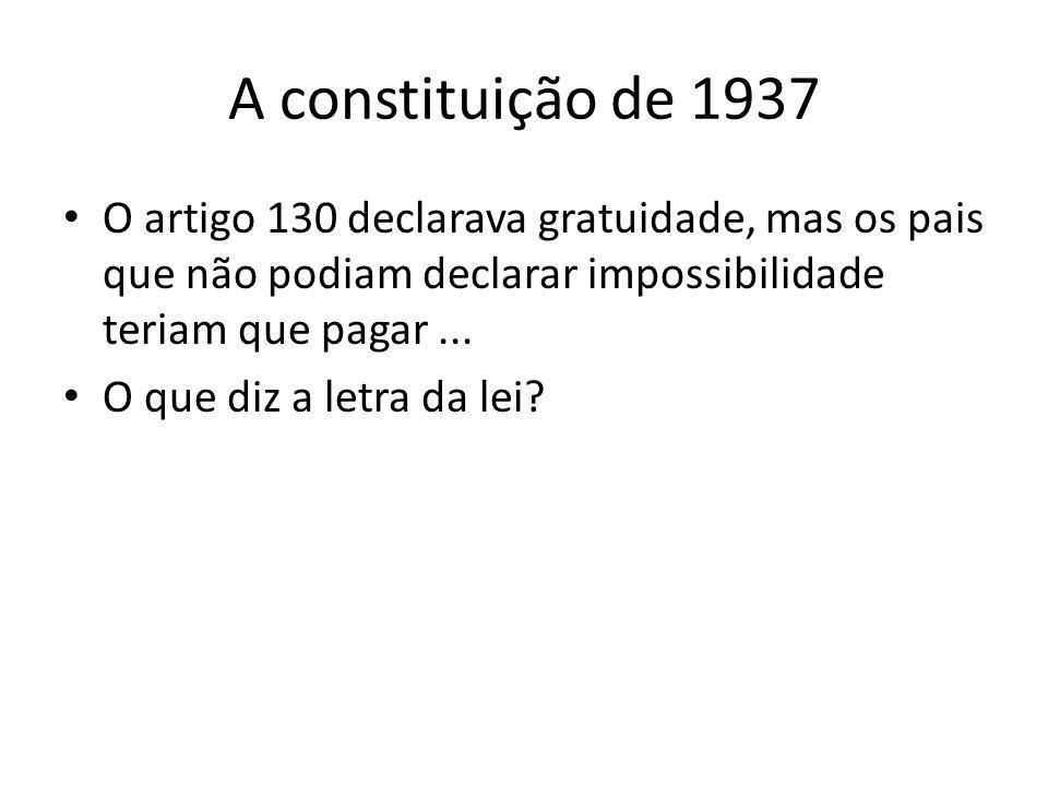 A constituição de 1937 O artigo 130 declarava gratuidade, mas os pais que não podiam declarar impossibilidade teriam que pagar... O que diz a letra da