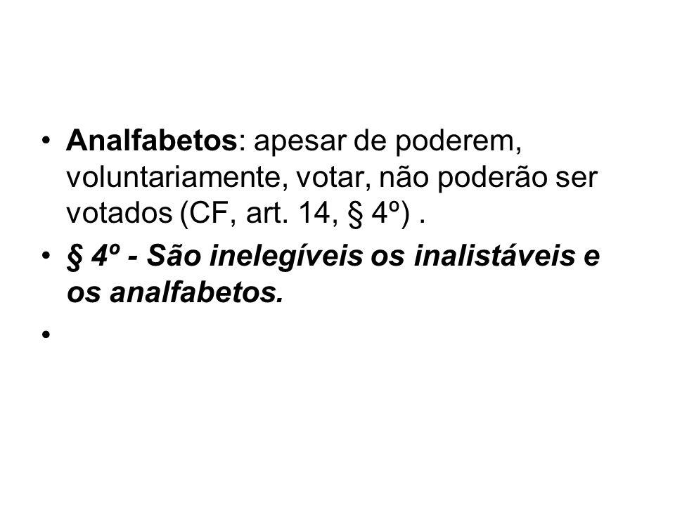 Analfabetos: apesar de poderem, voluntariamente, votar, não poderão ser votados (CF, art.