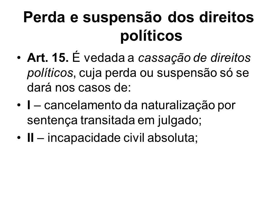 Perda e suspensão dos direitos políticos Art.15.