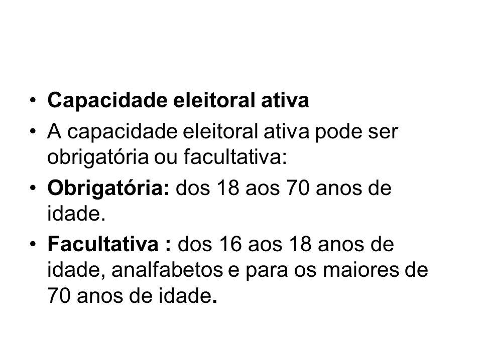 Capacidade eleitoral ativa A capacidade eleitoral ativa pode ser obrigatória ou facultativa: Obrigatória: dos 18 aos 70 anos de idade.