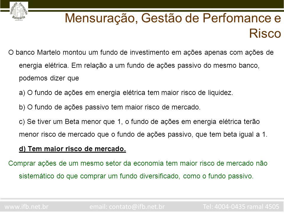 O banco Martelo montou um fundo de investimento em ações apenas com ações de energia elétrica. Em relação a um fundo de ações passivo do mesmo banco,