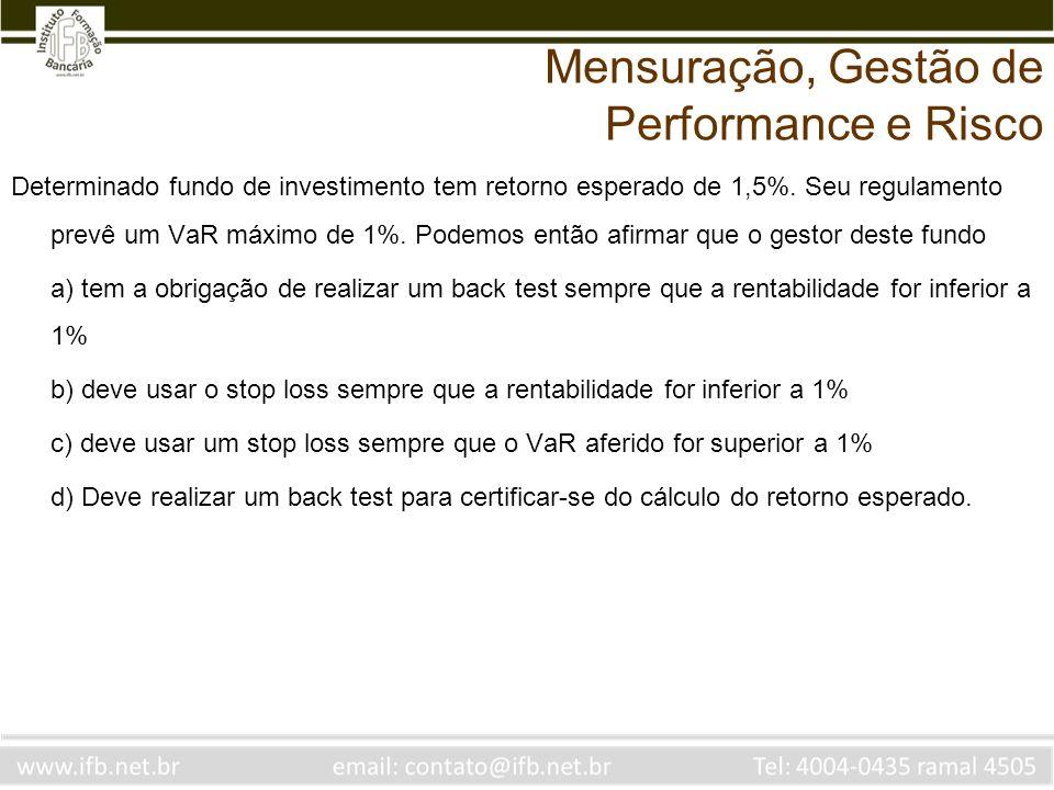 Determinado fundo de investimento tem retorno esperado de 1,5%. Seu regulamento prevê um VaR máximo de 1%. Podemos então afirmar que o gestor deste fu