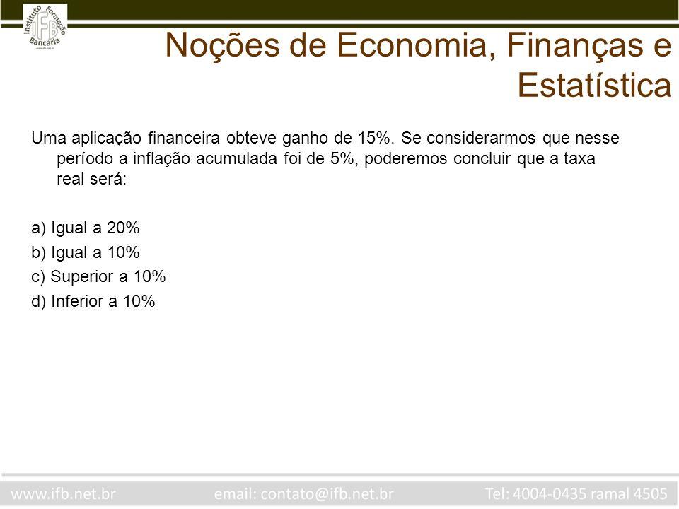 Noções de Economia, Finanças e Estatística Uma aplicação financeira obteve ganho de 15%. Se considerarmos que nesse período a inflação acumulada foi d