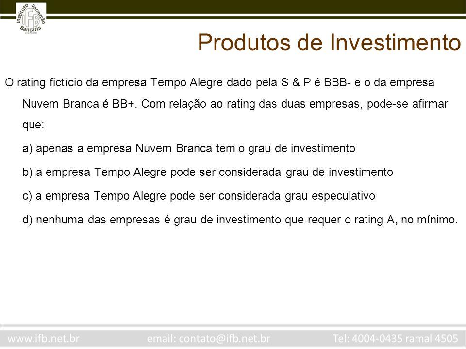 O rating fictício da empresa Tempo Alegre dado pela S & P é BBB- e o da empresa Nuvem Branca é BB+. Com relação ao rating das duas empresas, pode-se a