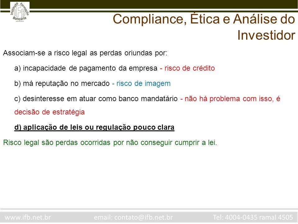 Associam-se a risco legal as perdas oriundas por: a) incapacidade de pagamento da empresa - risco de crédito b) má reputação no mercado - risco de ima