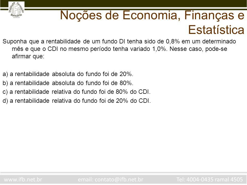 Suponha que a rentabilidade de um fundo DI tenha sido de 0,8% em um determinado mês e que o CDI no mesmo período tenha variado 1,0%.