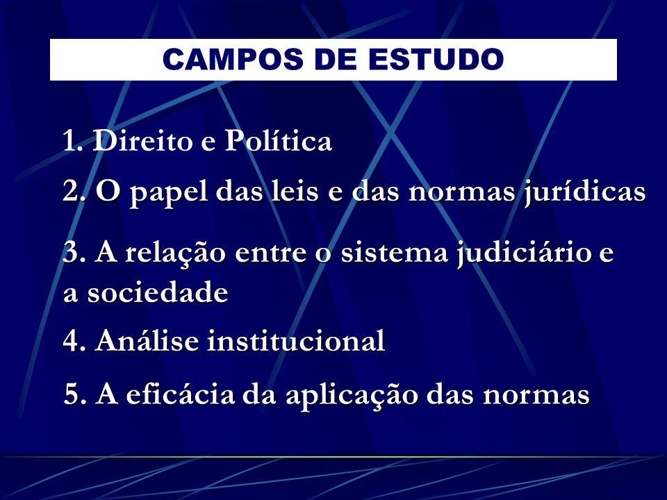 CAMPOS DE ESTUDO 1. Direito e Política 2. O papel das leis e das normas jurídicas 3. A relação entre o sistema judiciário e a sociedade 4. Análise ins