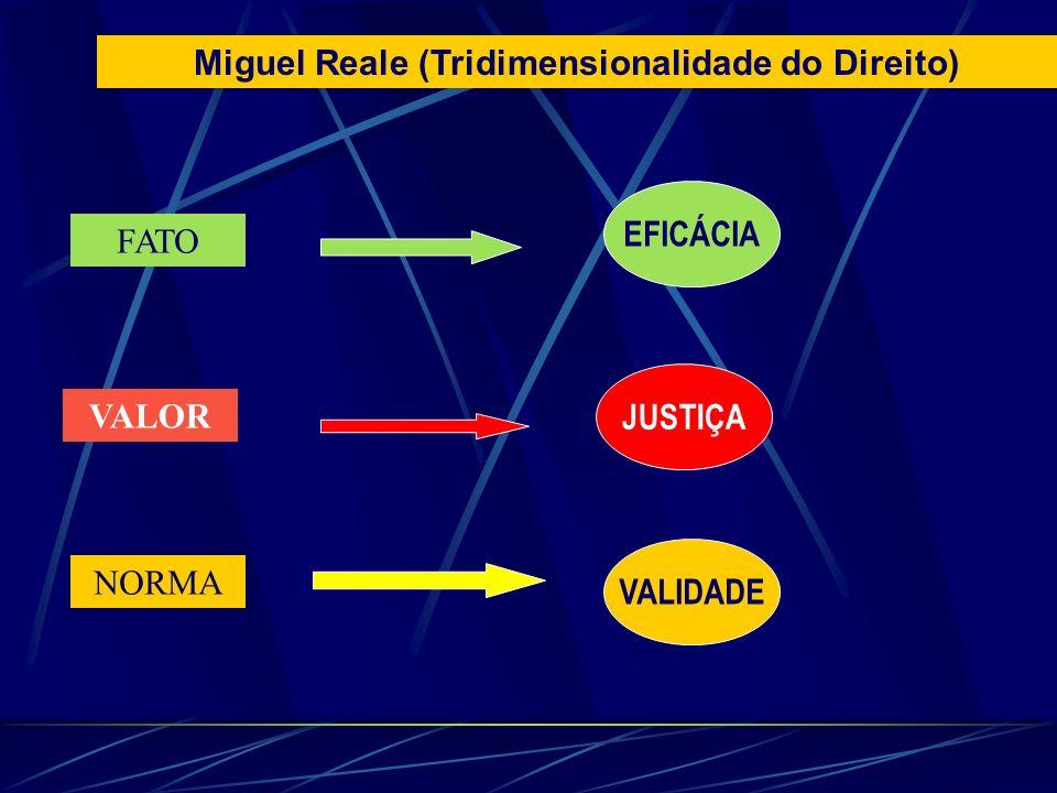 FATO VALOR NORMA EFICÁCIA JUSTIÇA VALIDADE Miguel Reale (Tridimensionalidade do Direito)