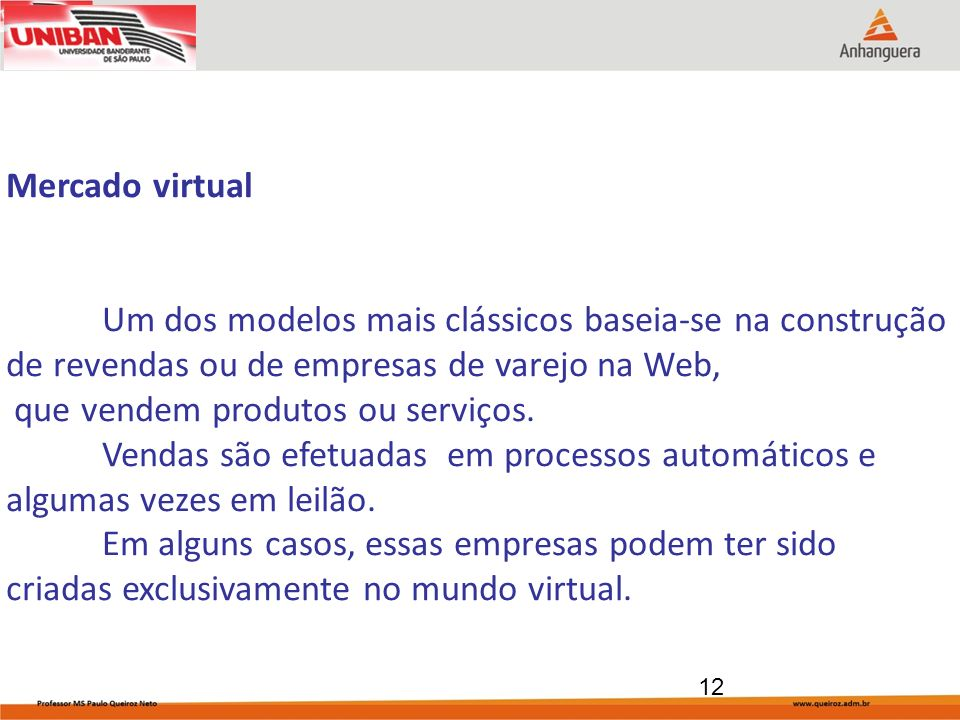12 Mercado virtual Um dos modelos mais clássicos baseia-se na construção de revendas ou de empresas de varejo na Web, que vendem produtos ou serviços.
