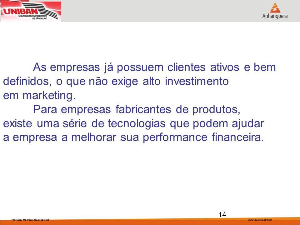 14 As empresas já possuem clientes ativos e bem definidos, o que não exige alto investimento em marketing. Para empresas fabricantes de produtos, exis