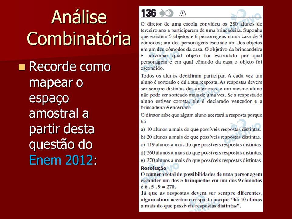 Análise Combinatória Recorde como mapear o espaço amostral a partir desta questão do Enem 2012: Recorde como mapear o espaço amostral a partir desta q