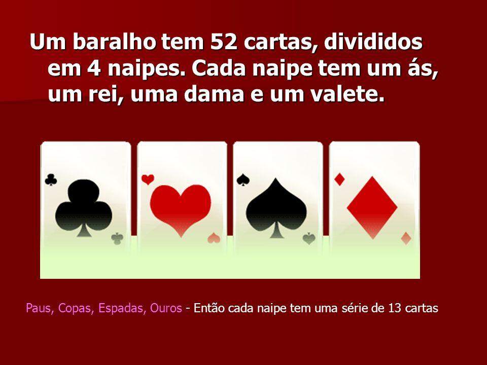 Um baralho tem 52 cartas, divididos em 4 naipes. Cada naipe tem um ás, um rei, uma dama e um valete. Paus, Copas, Espadas, Ouros - Então cada naipe te