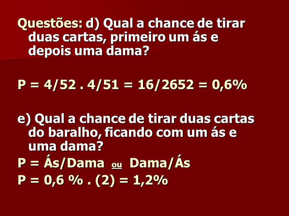 Questões: d) Qual a chance de tirar duas cartas, primeiro um ás e depois uma dama? P = 4/52. 4/51 = 16/2652 = 0,6% e) Qual a chance de tirar duas cart