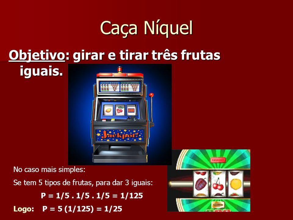 Caça Níquel Objetivo: girar e tirar três frutas iguais. No caso mais simples: Se tem 5 tipos de frutas, para dar 3 iguais: P = 1/5. 1/5. 1/5 = 1/125 L
