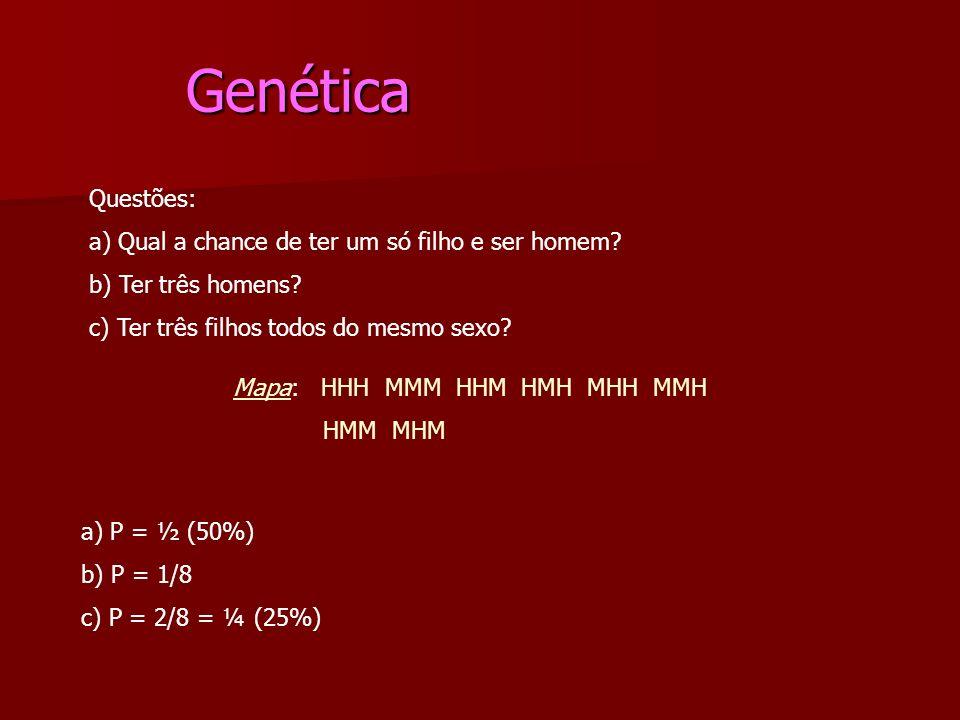 Genética Genética Questões: a) Qual a chance de ter um só filho e ser homem? b) Ter três homens? c) Ter três filhos todos do mesmo sexo? Mapa: HHH MMM