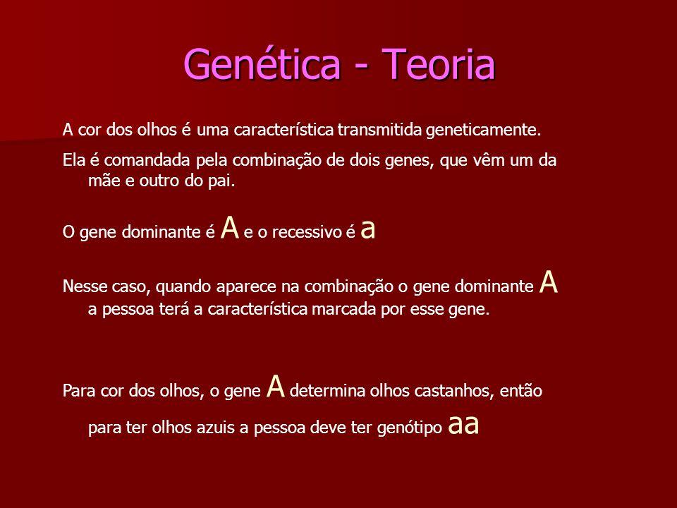 Genética - Teoria Genética - Teoria A cor dos olhos é uma característica transmitida geneticamente. Ela é comandada pela combinação de dois genes, que