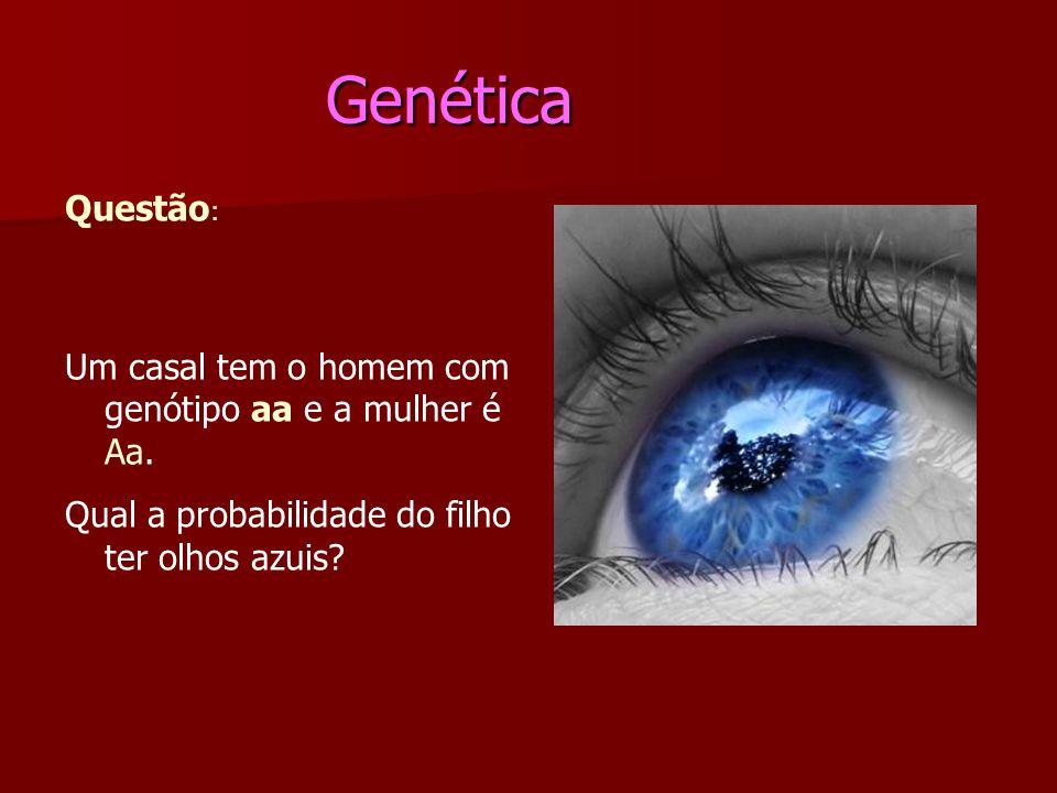 Genética Genética Questão : Um casal tem o homem com genótipo aa e a mulher é Aa. Qual a probabilidade do filho ter olhos azuis?