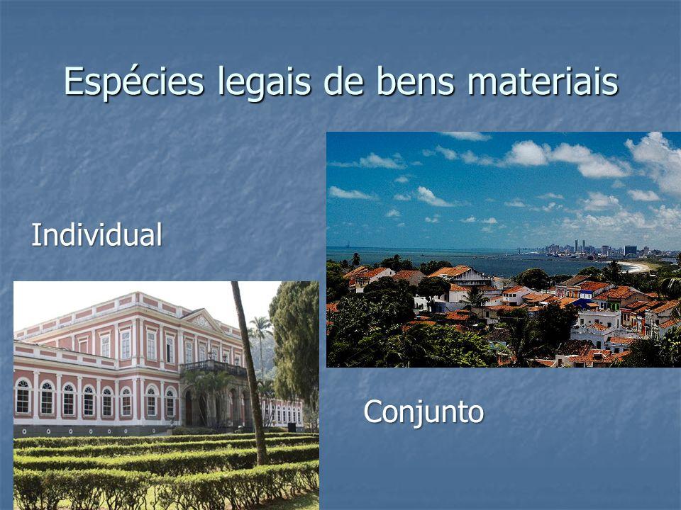 Espécies legais de bens materiais Individual Conjunto